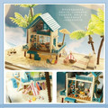 Romantic Aegean DIY Dollhouse 3D Miniature Wooden assembled+LED light+Handmade kits Building model Toy Valentine's Day Gift