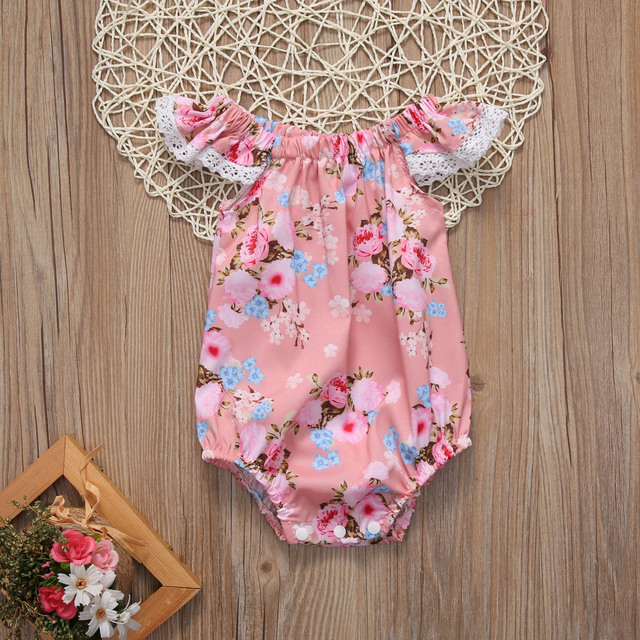 85273b610 0 18M Newborn Baby Girls Clothing Floral Bodysuit Flutter Sleeve ...