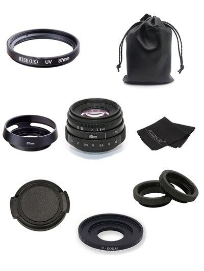 Nouvelle arrivée FUJIAN 35mm f1.6 C monture CCTV objectif II + C monture adaptateur anneau + Macro pour Canon EOS M EF-M sans miroir