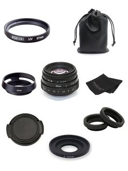 Nowy przyjeżdża FUJIAN 35mm f1 6 C zamontować obiektywy kamery przemysłowej II + C pierścień pośredni + makro dla Canon EOS M EF-M lustra tanie i dobre opinie KEFU 12 Ostrza Człowieka Standardowy prime Stałej ogniskowej obiektywu Instrukcja F16 0 Kamera 2015 Brak 101g-150g cctv 35mm