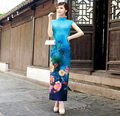 Traditional Chinese Dress with Blue Flower Print Long Short Sleeve Drop Mandarin Collar High Silt Cheongsam Qipao for Women