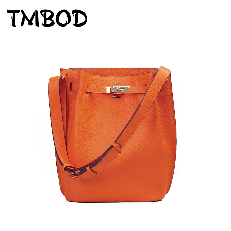 New 2017 Designer Classic Bucket Shoulder Bag with Lock Women Genuine Leather Handbags LadiesMessenger Bags For Female an771 2017 new classic large tote with lock lady messenger bags genuine leather handbags women shoulder bag for female bolsas qn048