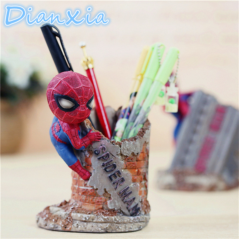 DIANXIA 13*9*14cm 2017 New Arrival Anime Spider Man Figure Action Desk Pencil Pot Holder Kids Toys Resin Home Decor Cute Gift 10cm spider man japanese anime lovely swing doll cute black panther mobile phone holder shaking head action