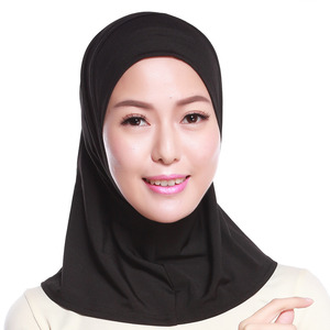 Image 3 - 2019 Fashion Women Hijab Neck Cover Scarf Bonnet Full Cover Inner Hijabs Cap Bone Lady Islamic Muslim Headwear Muslim Plain Cap