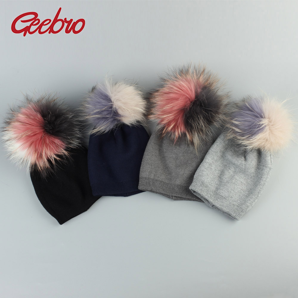 Geebro Baby Cashmere   Beanies   Hats With Patchwork Raccoon Pompom For Newborn Girls Boys Kids Warm Plain Cotton   Skullies     Beanie