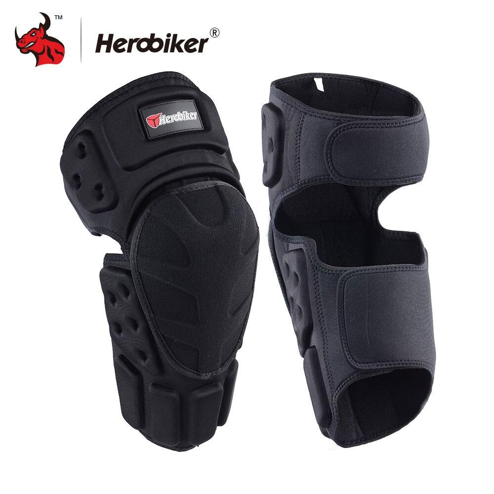 HEROBIKER motocicleta rodilleras Motocross Protector de rodilla Moto Protector de rodilla motocicleta Ridng rodilla negro