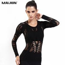 MAIJION Women Mesh Hollow Out Yoga Shirt Tops Quick Dry Long Sleeve Sport T Shirt Breathable