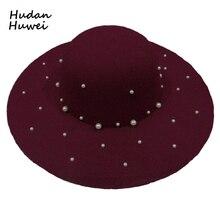 Autumn Winter Women Wool Felt Fedora Trilby Hats with Pearl Trend Wide Brim  Hat Cap Dome daf3b7e8207b