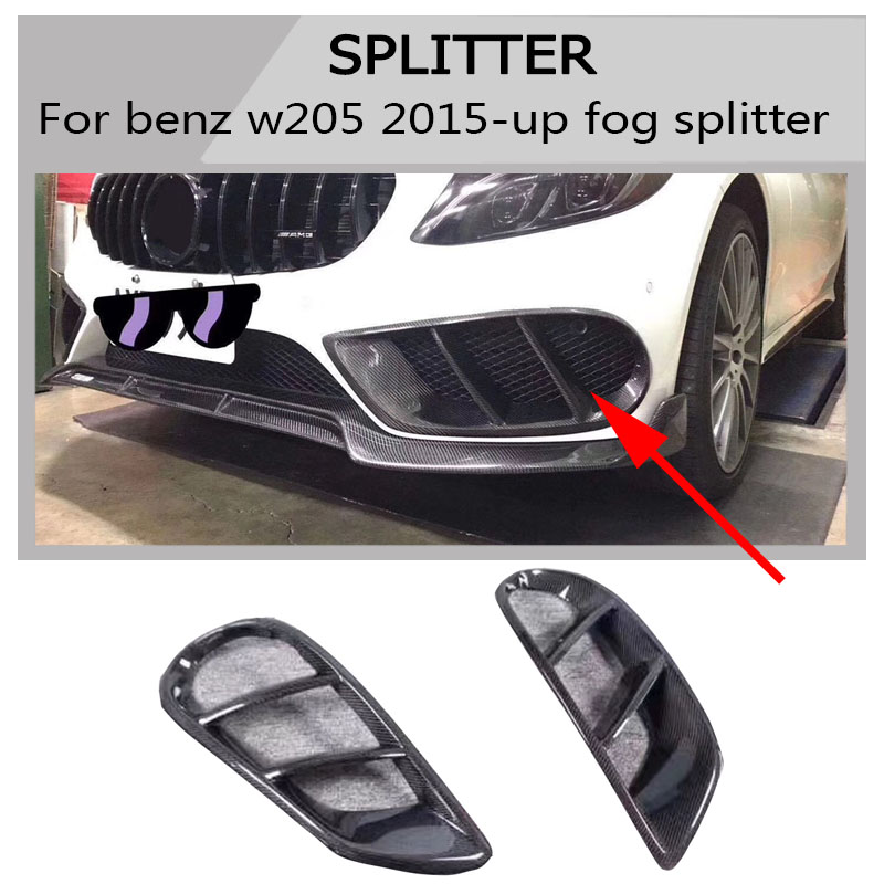C Class Carbon Fiber Fog Frame Air Vent Outlet Cover Trim Mesh Grill Frame For Mercedes W205 C63 AMG C180 C200 2015-2017 image