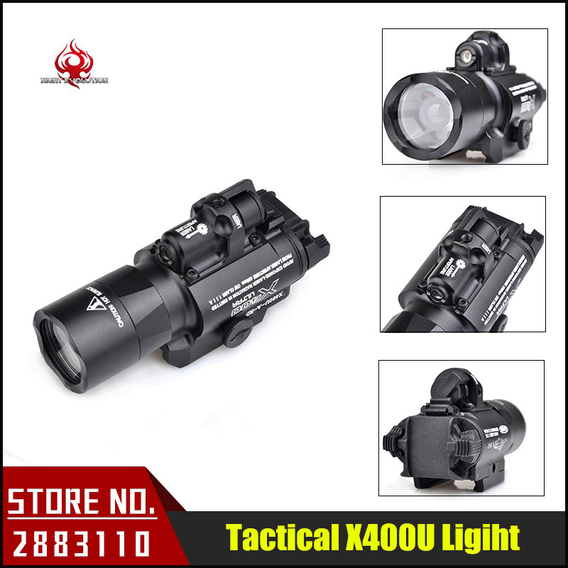 Night-Evolution X400U ULTRA LED Tactical Light 20mm Picatinny Weaver Rail Weapon Light With Red Laser For Hunting NE01009 night evolution wmx200 tactical gun light led flashlight strobe remote tail switch ir light for picatinny rail spotlight hunting