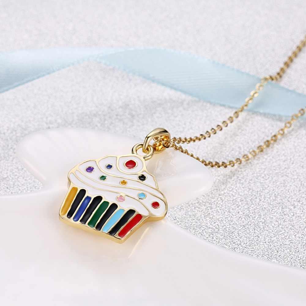 Visisap cupcake colares para mulher família ano novo presentes de natal strass cadeias colar moda feminina jóias vakn103