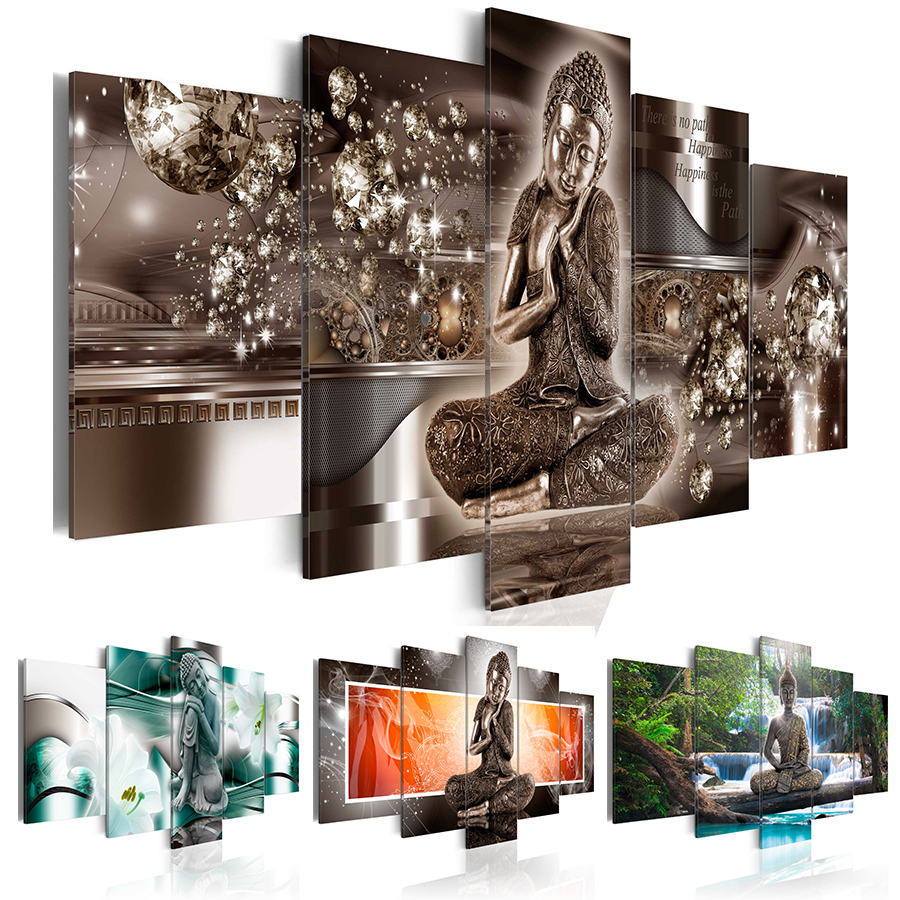 Landscape Waterfall Diamond Painting Buddha Religion Art Gifts Room Decor Diamond Mosaic Embroidery 5 PCS Multi