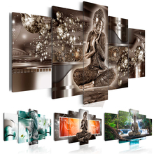 Landscape Waterfall Diamond Painting Buddha Religion Art Gifts Room Decor Mosaic Embroidery 5 PCS Multi-picture