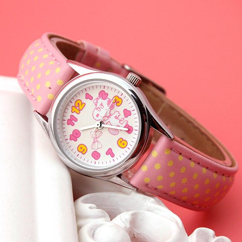 SNOOPY officiel BELLE véritable enfants watche bracelet en cuir synthétique polyuréthane mignon enfants montres filles résistant à l'eau sport décontracté montre horloge BEW003