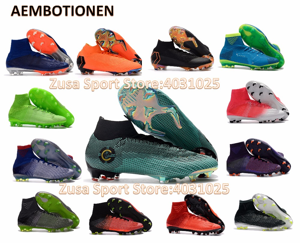 New 2018 Football Boots Mens Womens Kids FG Soccer Shoes Superfly High Ankle Cleats Outdoor AG FG TF IC child girl boy EUR35-46