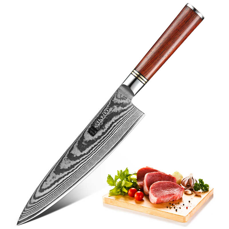 """XINZUO 8"""" inches Chef Knife Damascus Steel VG10 Kitchen Knives Top Quality Stainless Steel Gyuto Knives with Rosewood Handle"""