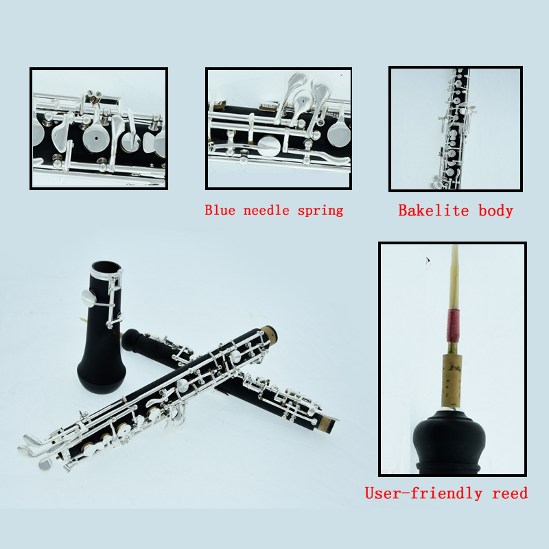 Professional Oboe Silver Plated Semiautomatic C Key Woodwind Musical Instrument Hautbois With Case