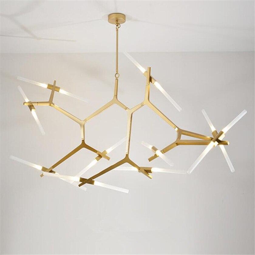 Moderne LED or lustre éclairage douille en verre lustre lampes creative pour salon chambre luminaires lampada de teto