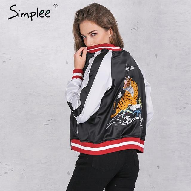 Simplee Unpadded cetim bordado jaqueta bomber mulheres blue Black tiger águia souvenir casaco jaqueta Casual jaqueta de beisebol sukajan