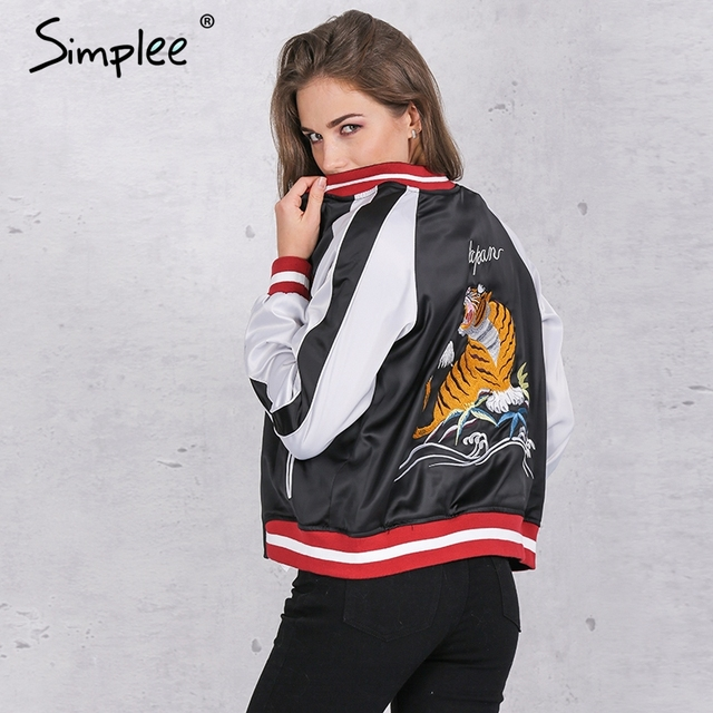 Simplee Unpadded satin embroidery bomber jacket women Black blue tiger eagle souvenir jacket coat Casual baseball jacket sukajan
