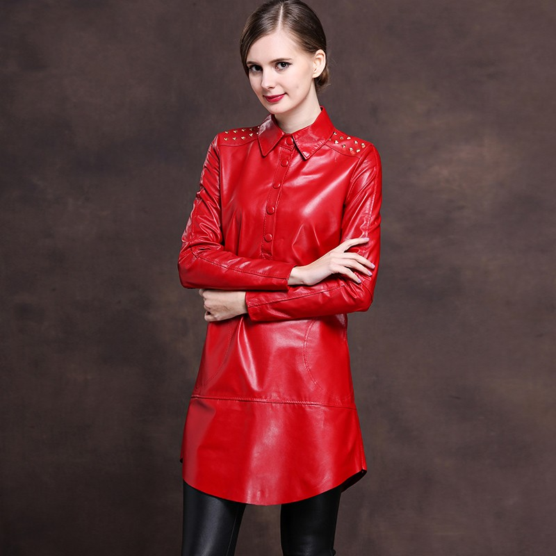 2019 New Office Ladies Lapel Collar Single Breasted Genuine Leather Mini Dress Women Rivet Punk Plus Size M 6XL Loose Fit Robe-in Dresses from Women's Clothing    2