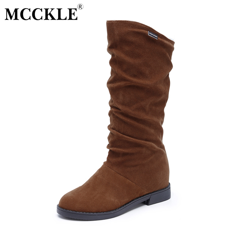 MCCKLE 2017 Woman Fashion Slip On Increased Within Mid Calf Boots Ladies Fold Low Heel Spring Autumn Casual Platform Solid Shoes double buckle cross straps mid calf boots