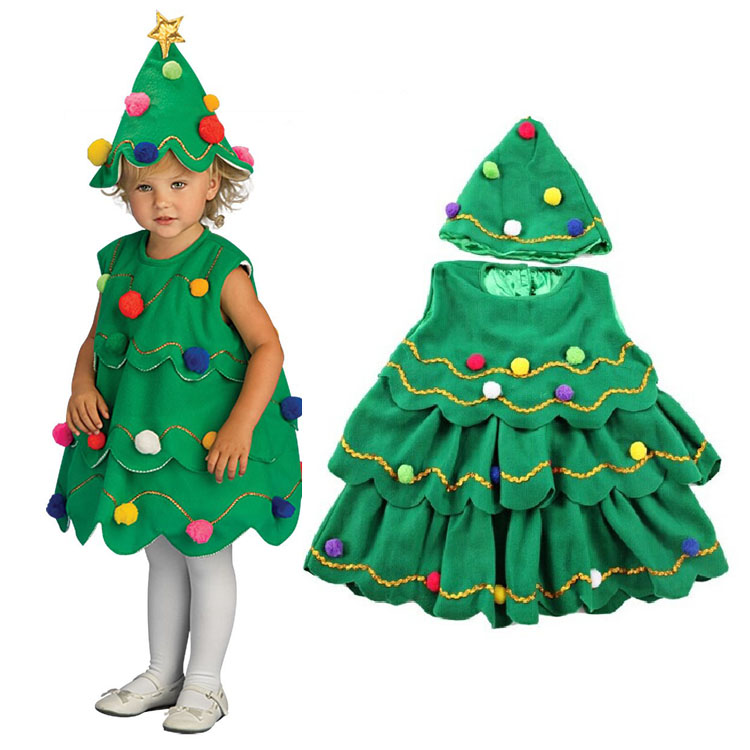 Fashion kids fancy costumes for girls frocks green toddler girls christmas dress with hats