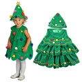 Moda niños trajes de fantasía para niñas vestidos verde niñas vestido de navidad con sombreros