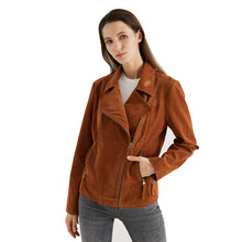 Escalier Womens Suede Leather Jacket Open Front Lapel Cardigan  Jackets collarless open front asymmetric cardigan
