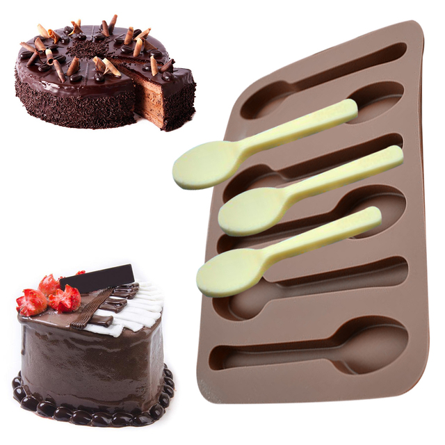 Silicone Chocolate Mold 1PC 6 Holes Spoon Shape Fondant Molds Cake Decorating Tools Soap Candy Cake Stencils forma de silicone