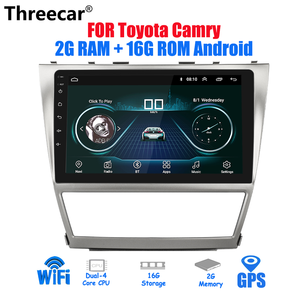 10.2 ''Android 2din autoradio 2G + 16G pour Toyota Camry 2007 ~ 2011 GPS Navigation stéréo Audio vidéo multimédia lecteur DVD WIFI