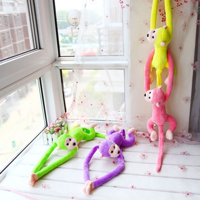 2017 Cute  Animal Long Arm Tail Cute Monkey Plush Toy Doll Curtain Decoration 60cm Mascot APR27_17 stuffed animal 120 cm cute love rabbit plush toy pink or purple floral love rabbit soft doll gift w2226