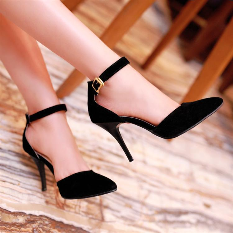 Women&39s Stiletto High Heels Point Toe Pumps Faux Suede Ankle Strap