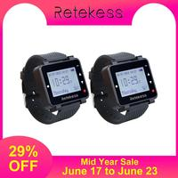 Retekess 2pcs T128 433.92MHz Watch Receiver Vibrating for Wireless Calling System Waiter Call Pager Restaurant Equipment