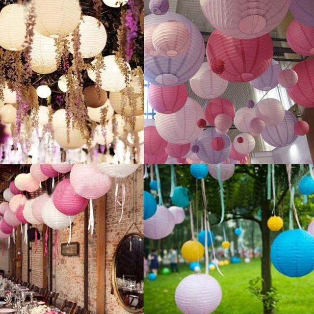 Chinese Traditional Hanging Lanterns Wedding Round Paper Lantern Hanging  Christmas Party Decoration Lampion Rice Lamp