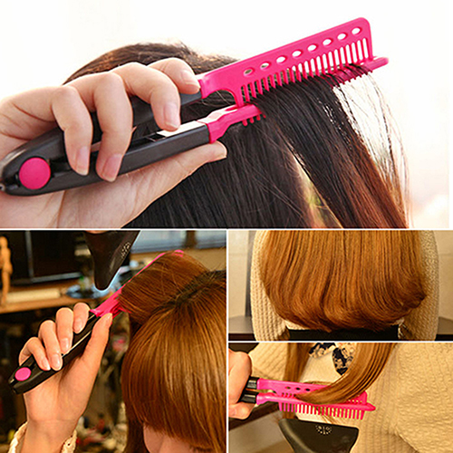 Girl s Fashion V Type font b Hair b font Straightener Comb DIY Salon Hairdressing font