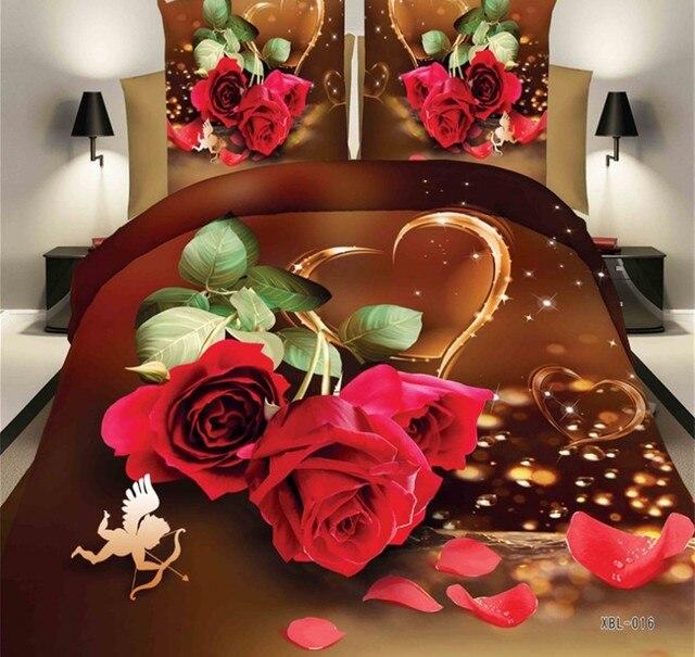 roses departement magasin 3d rouge rose couette ensemble de literie couette amour housse de couette drap