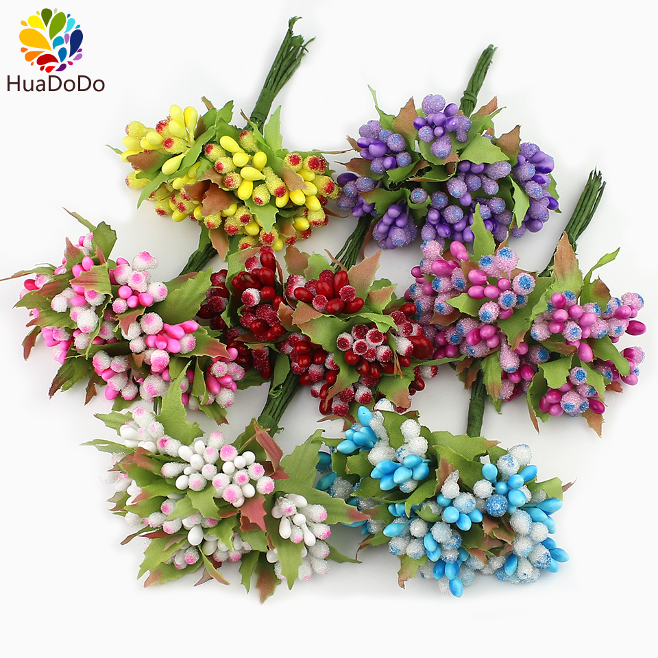 10pcs Mini Berry Stamen Artificial flower for Wedding scrapbook Decoration DIY wreaths craft Flowers New arrivel