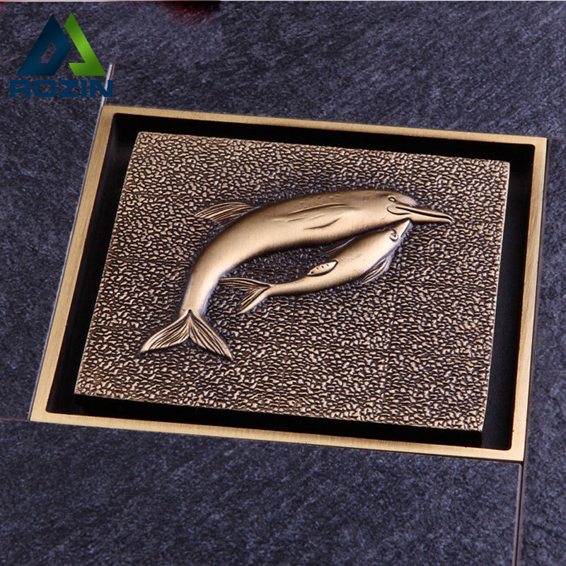 "Antique Brass Decorative Drain Covers Shower Floor Drain 100mm*100mm Dolphin Shape 4"" Shower Drain(China)"