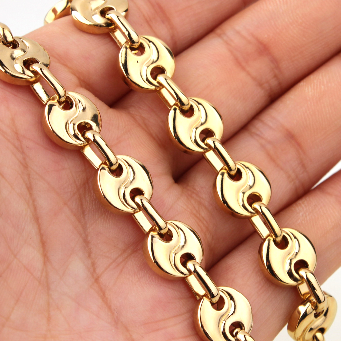 Fashion Mens Link Chain Top Gold Stainless Steel 10mm Coffee Bean Necklace Bracelet Womens 7-40 inch