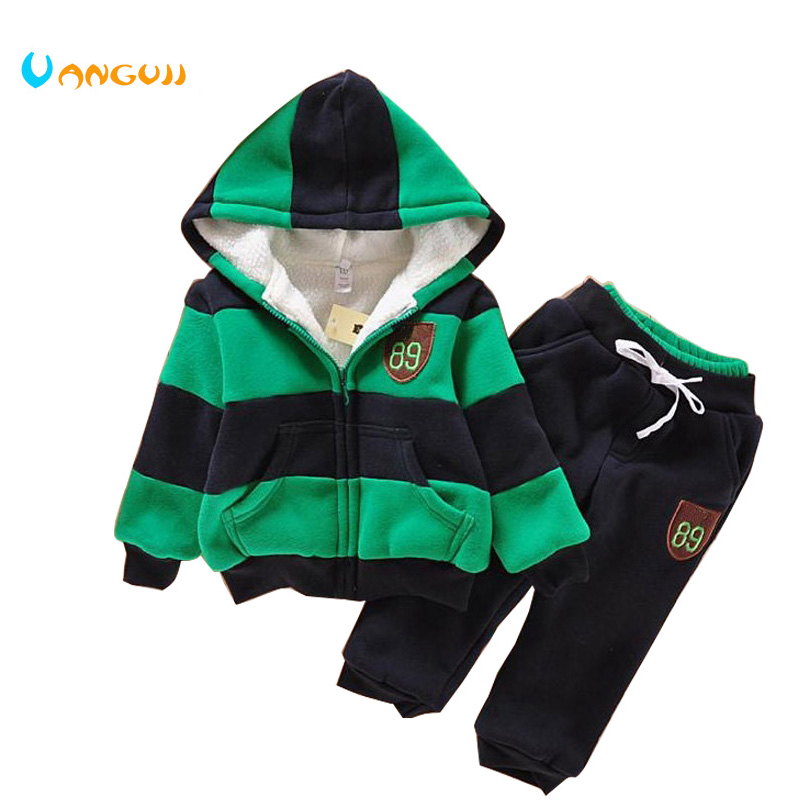 Boys Girls Children Hoodies Winter velvet Sherpa Baby Sports Suit New 2014 Jacket Sweater Coat & Pants Thicken Kids Clothes Sets 2017 girls children hoodies winter wool