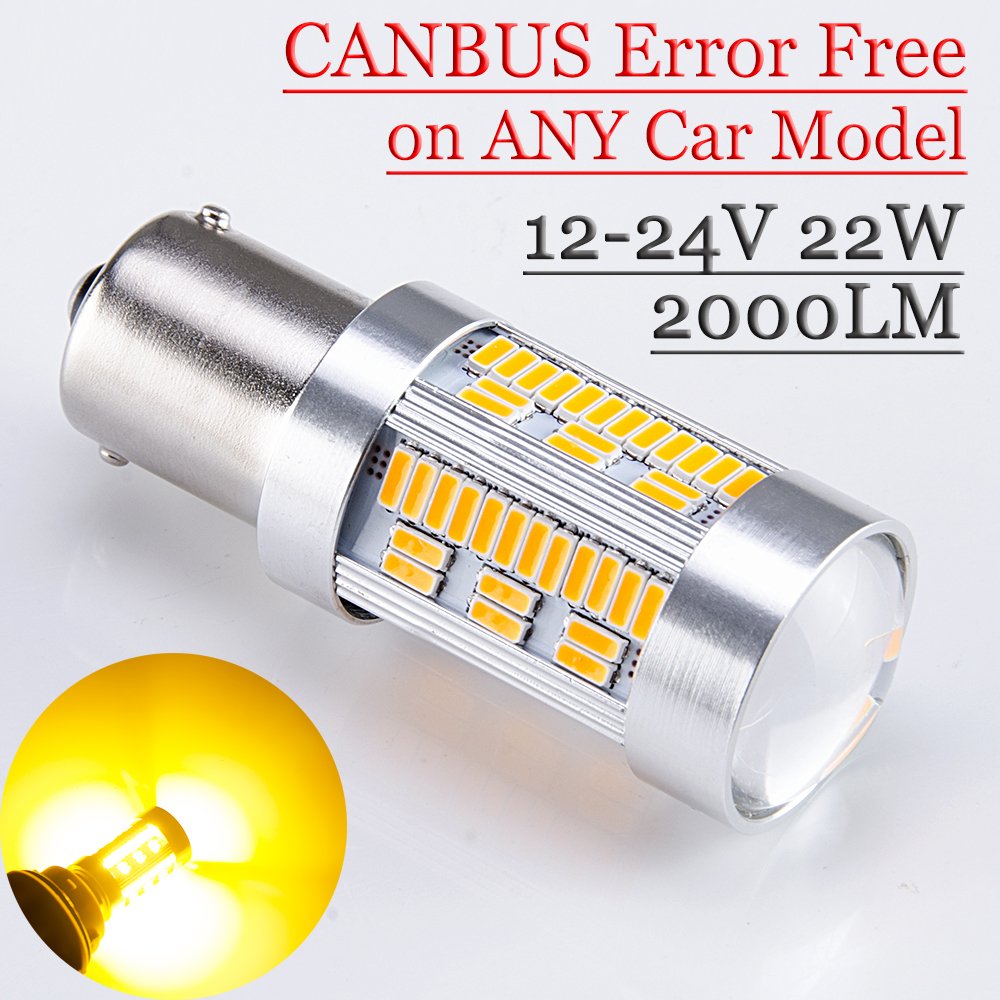 flytop 1156 LED Lamp with LENS CANBUS Error Free on Any Car Model BA15S 12V-24V 22W Yellow Color 2000LM Super Bright Turn Light 2pcs 12v 31mm 36mm 39mm 41mm canbus led auto festoon light error free interior doom lamp car styling for volvo bmw audi benz
