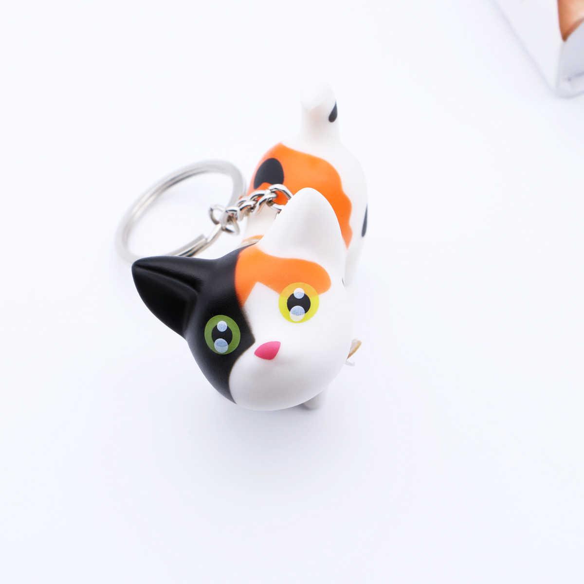 Bonecas bonitos Dos Desenhos Animados Pequeno Gato Preto Chaveiro Porte Mulheres Clef Chaveiro Bugiganga Carro Casal Chaveiro