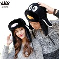 New Winter Men Women Bomber Hats Cartoon Fly Penguin Earflaps Lover Caps Fashion Rushed Adult Character Unisex Corduroy Caps