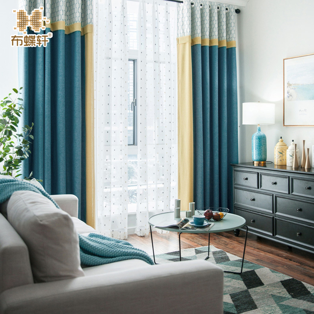 blue modern living room orange and grey 2018 new mediterranean yellow stitching luxurious curtains for bedroom embroidery white tulle