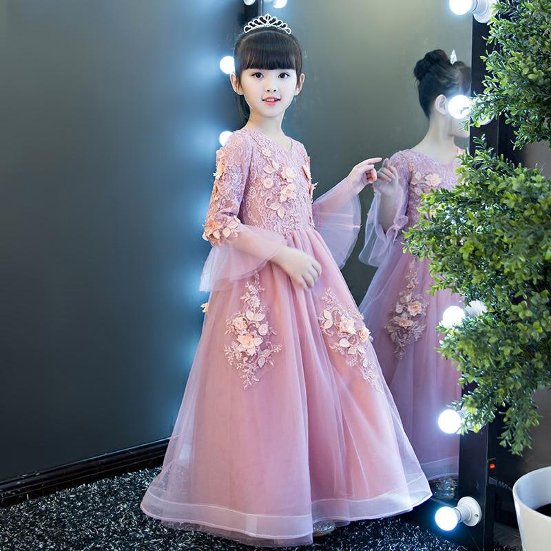 все цены на 3-13T Floral Kids Pageant Dress Wedding Birthday Holy Communion Dress Girls Party Dress Lace Ball Gown Flower Girl Dresses B67