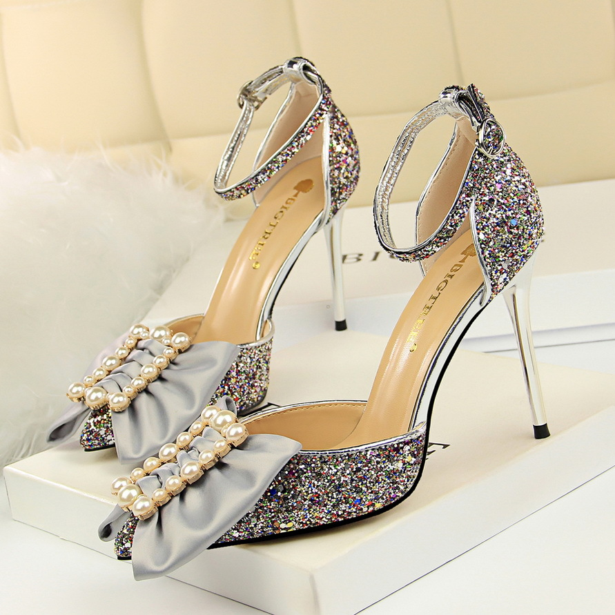Platform Slingback Pumps women shoes classic High heels 10cm pink hollow shallow pointed sequins metal buttons pearl bow sandals
