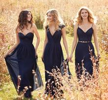 2016 Navy Blue Lace Bridesmaid Dresses Sweetheart Chiffon A Line Long Prom Party Gown for Wedding