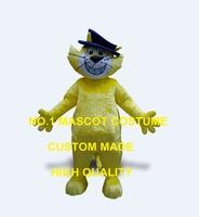 ראש צהוב באיכות גבוהה חתול קמע תלבושות cartoon mascotte פנסי תחפושות קרנבל cosply אנימה נושא חתול אופי dress 1910