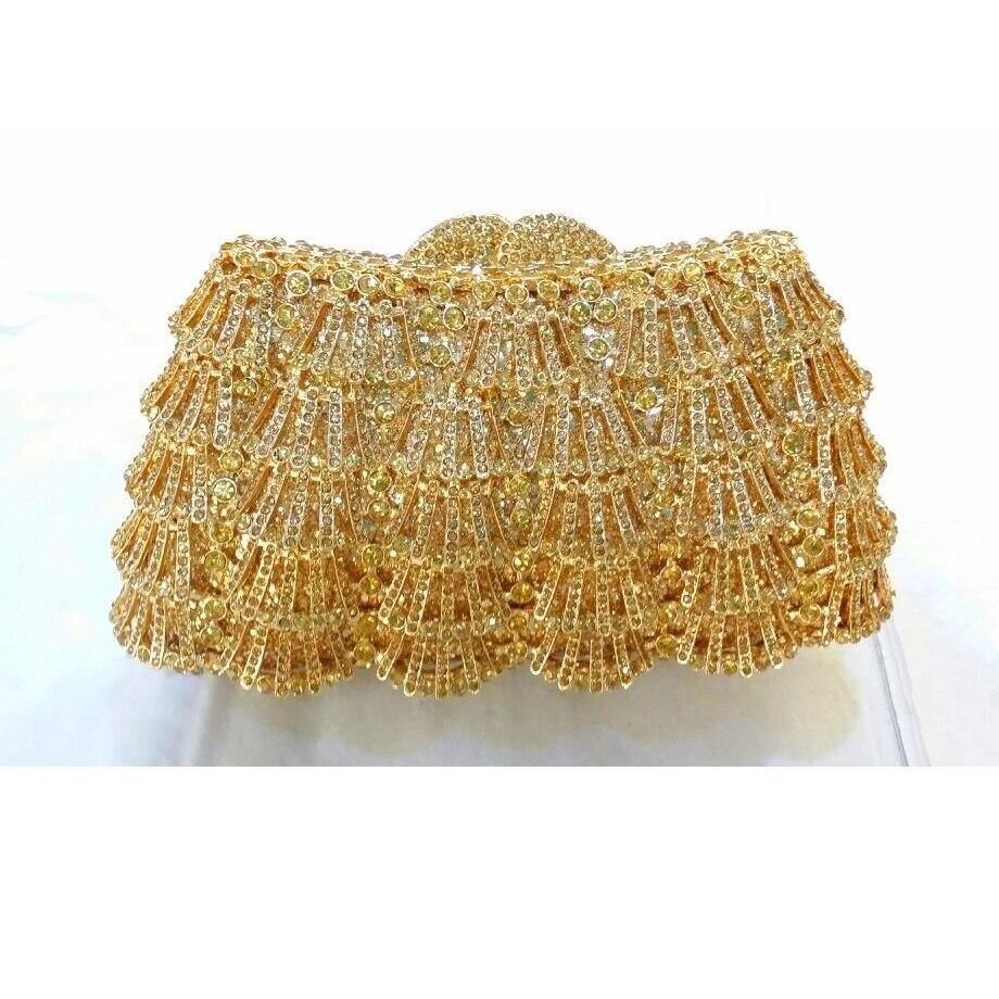 ФОТО 8324GD Gold Crystal waterfall Wedding Bridal Party Night hollow Metal Evening purse clutch bag case box handbag